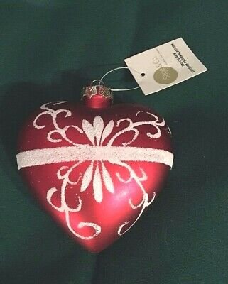 "Red White Heart Ornament Sage & Co. 3.5"" NWT Christmas Wedding Glass Look"