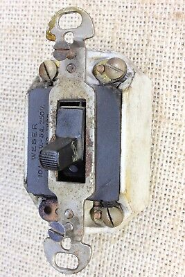 porcelain light switch tested old antique vintage 3 wire three way WEBER