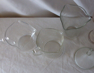 Funnel 3 measuring cups. Anchor Hocking, Federal, Pyrex...