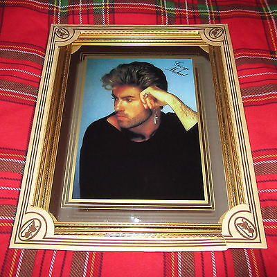 """George Michael - Large Rare Vintage 1980's Mirror In A Frame (22"""" X 18"""")"""