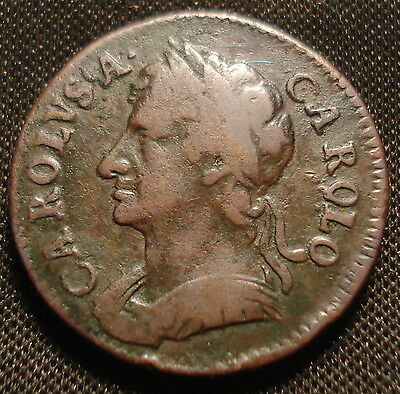 1672 Charles Ii Farthing Higher Grade Very Good Detail Nice Even Wear