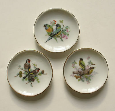 3 Butter Pats BIRDS White Porcelain Made in Japan 3-inch Round