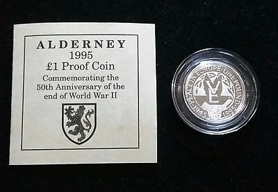 ALDERNEY 1995 SILVER PROOF £1 POUND 50th ANNIVERSARY END OF WWII LIMITED ISSUE