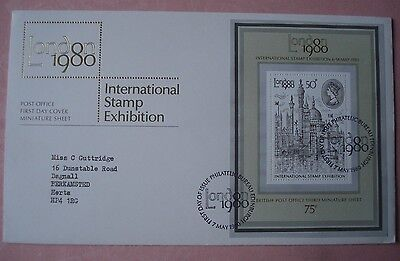 International Stamp Exhibition London 50p mini sheet on  First Day Cover (1980)