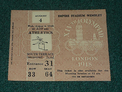 Ticket 1948 Olympic Games (London) - ATHLETICS on 4 August