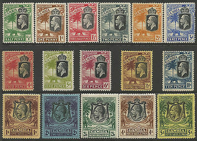 Gambia 1922 part set of 16 stamps values to 5s average mounted mint