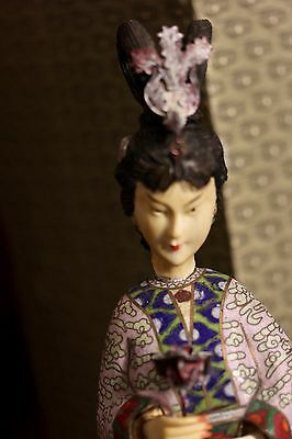 Old Chinese Cloisonne figure of a woman in original box