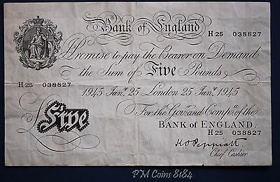 "1945 Bank of England, Five pounds, Peppiatt Prefix ""H25"", White £5 Note [8184]"