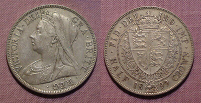 1899 QUEEN VICTORIA VEILED HEAD HALFCROWN - Nice Grade