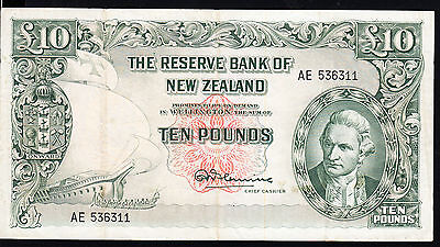 New Zealand 1967, 10 Pound Banknote Fleming, No Thread..VF