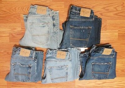 (5) PAIRS OF ABERCROMBIE & FITCH BUTTON FLY BLUE DENIM JEANS 28 x 30 - NICE