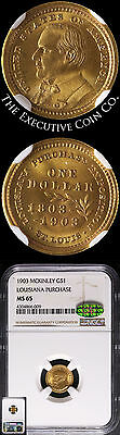 1903 Louisiana Purchase McKinley Commemorative Gold $1 CAC Sticker NGC MS65