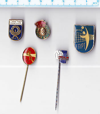 JOB LOT COLLECTION Vintage VOLLEYBALL Pin Badges Russia Israel Egypt Holland