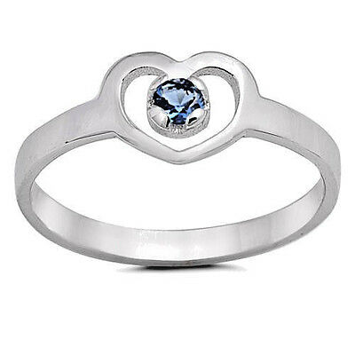 USA Seller Baby Heart Ring Sterling Silver 925 Best Deal Jewelry Blue CZ Size 3