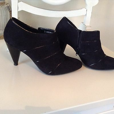 Lady's Black Faux Suede Shoe Boots Marks & Spencer size 3
