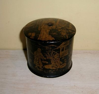 Antique Japanese Thread Holder Black Lacquer Box Wood Sewing Caddy