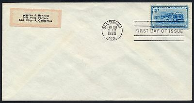 UNITED STATES OF AMERICA 1952 FIRST DAY COVER USA FDC #a351 BALTIMORE CANCEL!