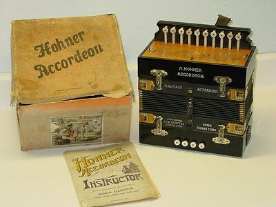 Vintage Hohner Germany Accordeon IN Box, W/ Instructions, Accordion Steel Bronze