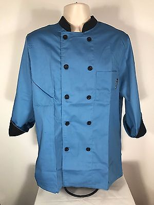 Checked Out Unisex Chef Coat Blue Long Broadcloth 10 Buttons Breast Pocket XL