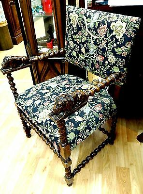 Unique Antique Oak Lying Carved Lion Arm Chair