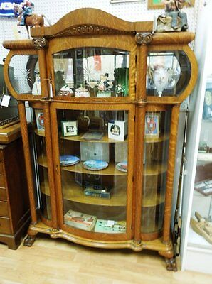 Awesome Triple Bow Glass With Bonnet Top Antique Oak China Cabinet