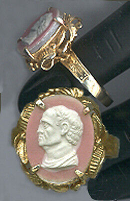 V.Fine CAMEO from Georgian Tassie Intaglio:Roman/Greek Man 18k Vermeil 6.75 RING