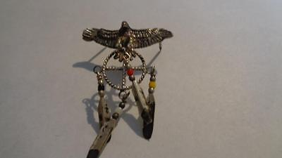 Pin Eagle Holding a Dreamcatcher Size 2x1.5 inches Vintage