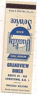 Grandview Diner Route 22 - 522 Lewistown PA Mifflin Matchcover 122716