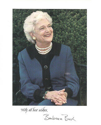 "BARBARA BUSH vintage 8"" x 10"" color picture (from White House)"