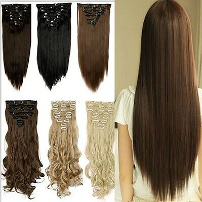 """UK 17-26"""" Clip In 100% Real as Human Hair Extensions Long Full Head 8 Pieces AD"""