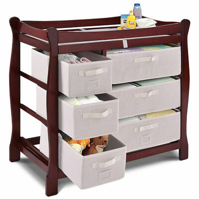 Cherry Sleigh Style Baby Changing Table Diaper 6 Basket Drawer Storage Nursery