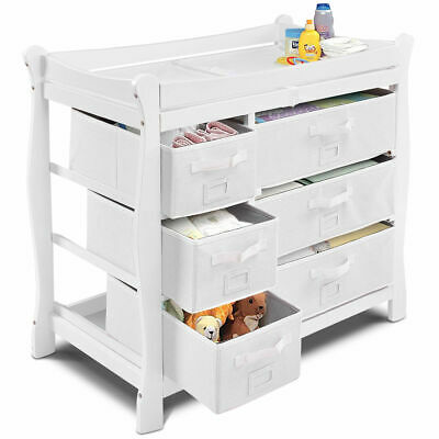 White Sleigh Style Baby Changing Table Diaper 6 Basket Drawer Storage Nursery
