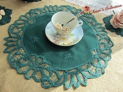 """3Pcs~Shabby~Battenburg Lace Doily/Table Topper~16"""" Round~Deep Green~Rural Charm~"""