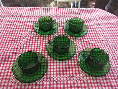 Vintage Green Glass Coffee / tea Set by VERECO FRANCE 5 CUPS & SAUCERS
