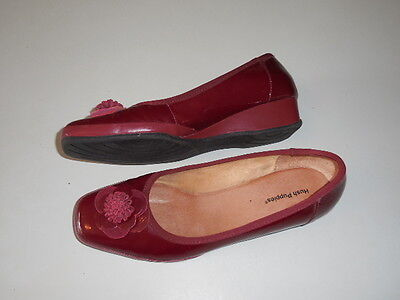 Size 40 *hush Puppies* Red Patent Leather Ballet Flat Shoes Gorgeous Brand New