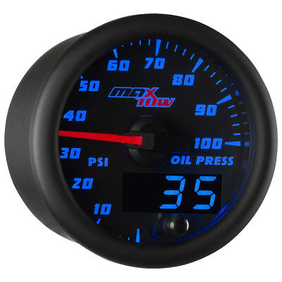 52mm Black & Blue MaxTow Double Vision Oil Pressure Gauge - MT-BDV04