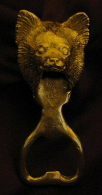 CHIHUAHUA, LONG HAIRED, LONG COAT Bottle Opener in Bronze