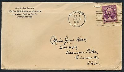 UNITED STATES OF AMERICA 1936 OLD COVER #a363 QUINCY CANCEL!