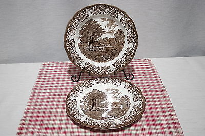 """LOT of 2 J&G Meakin  ROMANTIC ENGLAND 9"""" Luncheon Plates. Brown / White"""
