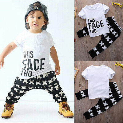 Summer Baby Boy Toddler Casual T-shirt Tops+Long Pants 2pcs Outfits Clothes Set