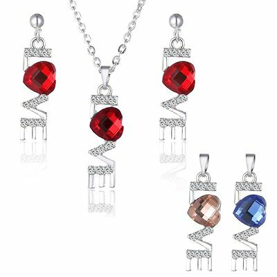 Red Rhinestone Crystal Pendant Necklace Earrings Jewelry Set +2 x Free Pendants
