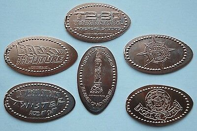 Universal Studios Florida - collection of 6 different retired pressed pennies.