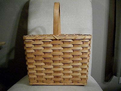 Basket Amish Made Reed Tall Gift Basket Plain with Stationary Handle In Stock