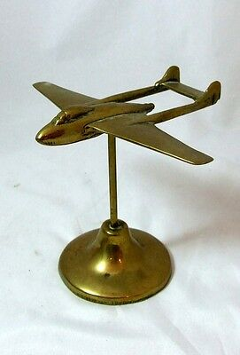 RARE Trench Art Style de Havilland Vampire Plane Brass Desktop - 414g