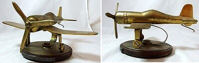 RARE Trench Art Style British Pacific Fleet Corsair Plane Brass Desktop - 565g