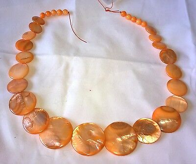 MOTHER OF PEARL COIN BEADS 15mm- 30mm ORANGE 31 BEADS GRADUATING SIZES UK SELLER