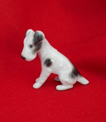 Porcelain Pfeffer Gotha Wire Fox or Jack Russell Terrier Dog Figurine Germany