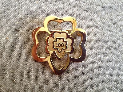Girl Scouts 100th anniversary gold bloom brooch pin rare collectible