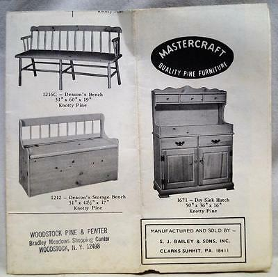 Mastercraft Pine Furniture Advertising Brochure S.j. Baily & Sons Co. Vintage