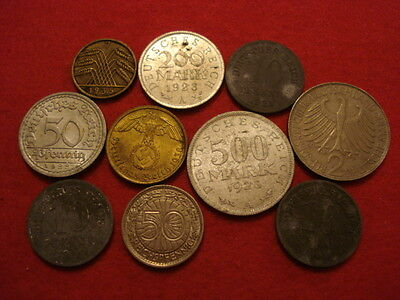 10 Germany Coins 1921 - 1964